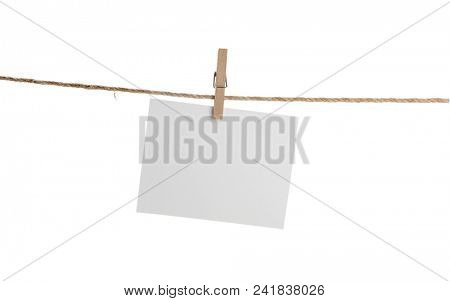 Blank Card Hanging on Clothesline Isolated
