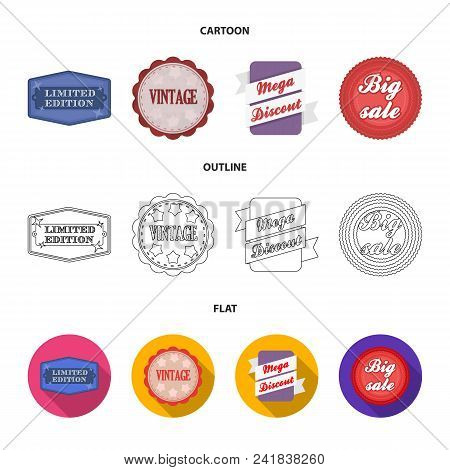 Limited Edition, Vintage, Mega Discont, Dig Sale.label, Set Collection Icons In Cartoon, Outline, Fl