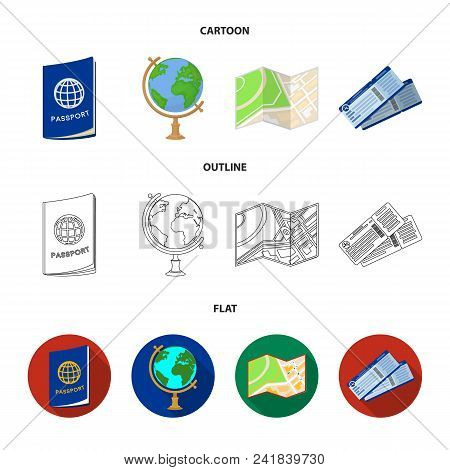 Vacation, Travel, Passport, Globe .rest And Travel Set Collection Icons In Cartoon, Outline, Flat St