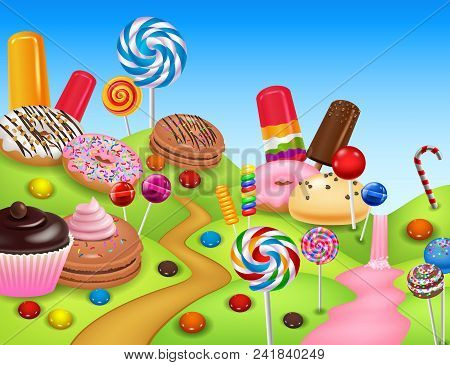 Sweet Candyland With Cupcake, Ice Cream, Donut, Lollipop, Pancake And Candy Cane