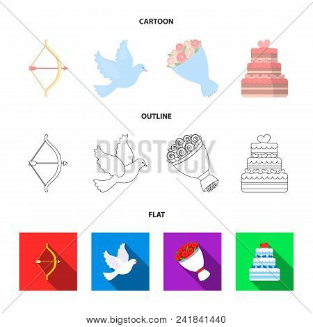 Arrow Cupid, Dove, Bouquet Of Flowers, Wedding Cake. Wedding Set Collection Icons In Cartoon, Outlin