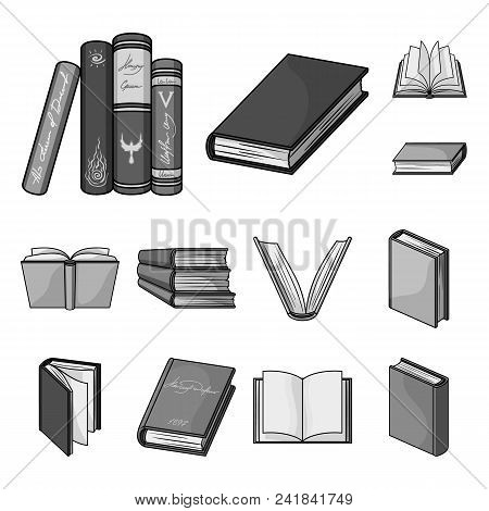 Book In The Binding Monochrome Icons In Set Collection For Design. Printed Products Vector Symbol St