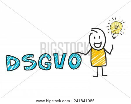 Stick Man In Front Of Dsgvo Letters. General Data Protection Regulation