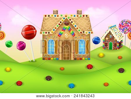 Sweet Candyland With Gingerbread House And Lollipop