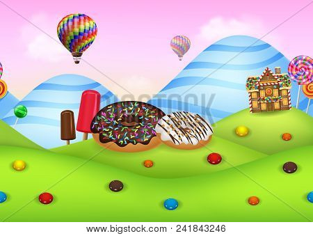 Fantasy Candyland With Dessrts And Sweets Background