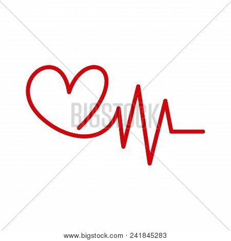 Hospital Heart Logo With Pulse, Heart Beat Icon, Vector Concept Of Healthy Lifestyle, Sport And Fitn