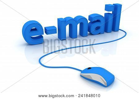 Computer Mouse And Word E-mail. 3d Image Renderer