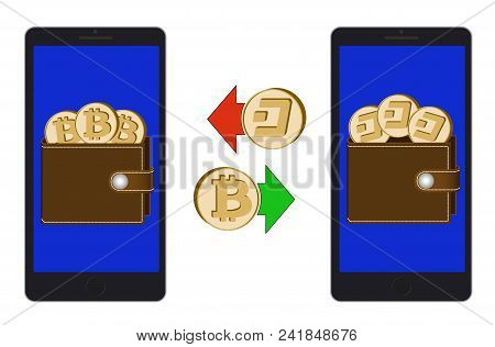 Exchange Between Bitcoin And Dash In The Phone On A White Background , Exchange Cryptocurrency In Th