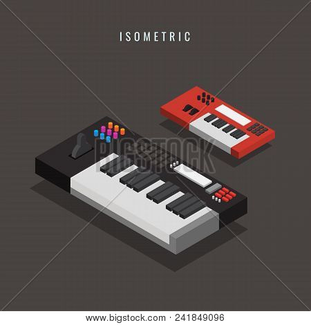 Isometric. Electronic Keyboard. Musical Equipment. 3d. Vector Illustration. On Gray Background