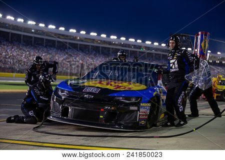 May 20, 2018 - Concord, North Carolina, USA: Jamie McMurray (1) makes a pit stop for the Monster Energy All-Star Race at Charlotte Motor Speedway in Concord, North Carolina.