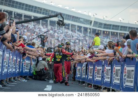 May 20, 2018 - Concord, North Carolina, USA: Martin Truex, Jr (78) gets introduced for the Monster Energy All-Star Race at Charlotte Motor Speedway in Concord, North Carolina.