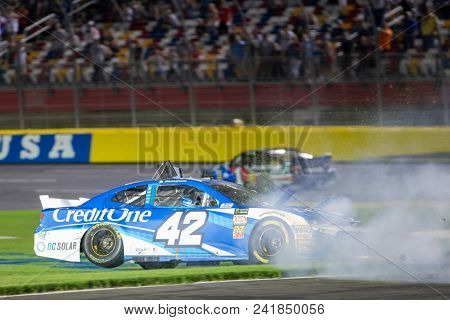 May 20, 2018 - Concord, North Carolina, USA: Kyle Larson (42) wrecks during the Monster Energy All-Star Race at Charlotte Motor Speedway in Concord, North Carolina.