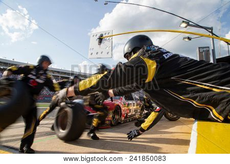 May 20, 2018 - Concord, North Carolina, USA: Matt DiBenedetto (32) makes a pit stop during the Monster Energy Open at Charlotte Motor Speedway in Concord, North Carolina.