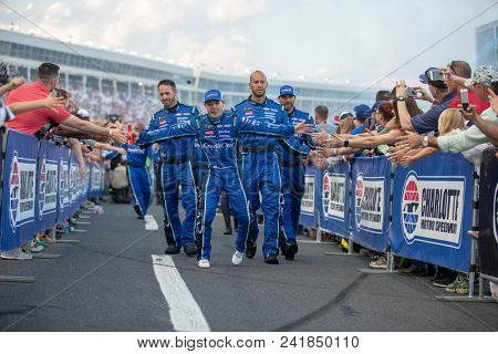 May 19, 2018 - Concord, North Carolina, USA: Kyle Larson (42) gets introduced for the Monster Energy All-Star Race at Charlotte Motor Speedway in Concord, North Carolina.