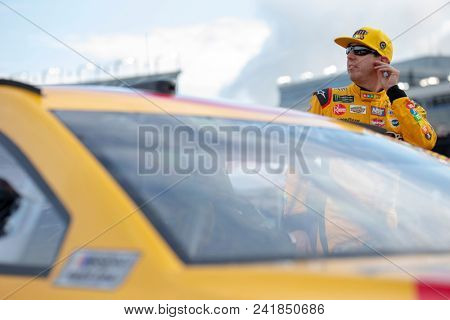 May 18, 2018 - Concord, North Carolina, USA: Kyle Busch (18) gets ready to qualify for the Monster Energy All-Star Race at Charlotte Motor Speedway in Concord, North Carolina.