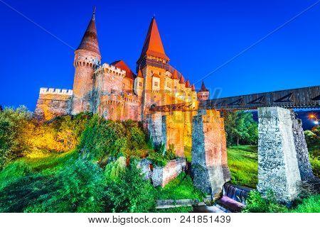 Corvin Castle Beautiful Panorama With Wooden Bridge, Hunedoara, Transylvania, Romania, Europe.