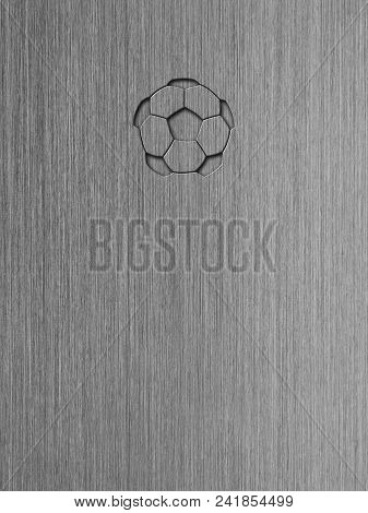 Macro Shot Of Brushed Aluminum, Metal Texture Background With Embossed Soccer Ball Icon