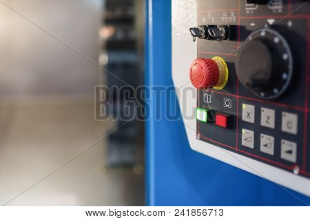 The Red Emergency Button For Hand Press. Stop Button For Industrial Machine.