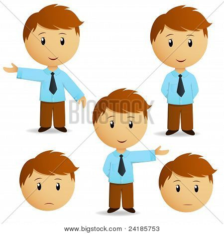 Set Of Happy Cartoon Businessman Presentation