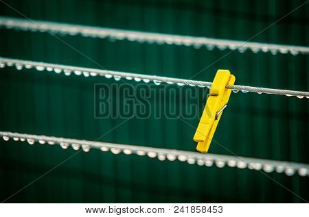 Single yellow clothes pin in a wet cord with water drops