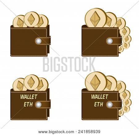Set Of Brown Wallets With Ethereum Coins On A White Background , Crypto Currency In The Wallet,sign