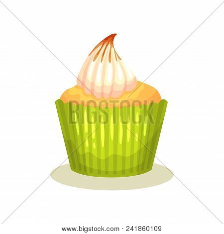 Tasty Lemon Muffin With Butter Cream On Top. Delicious Cupcake In Green Wrapper Baking Cup. Decorati