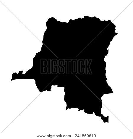 Black Silhouette Country Borders Map Of Democratic Republic Of The Congo On White Background. Contou