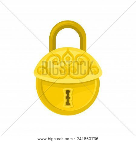 Antique Round-shaped Padlock. Cartoon Icon Of Old Golden Lock With Ornamental Engraving. Graphic Des