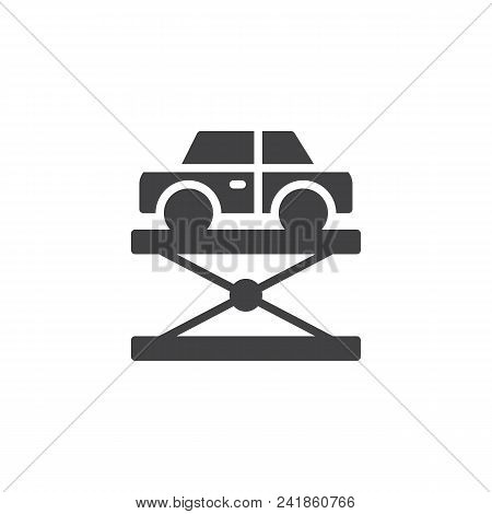 Car Lift Vector Icon. Filled Flat Sign For Mobile Concept And Web Design. Hydraulic Car Lift Simple