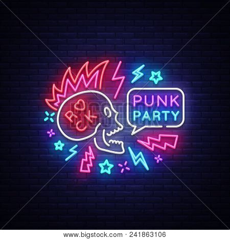 Punk Party Neon Sign Vector. Rock Music Logo, Night Neon Signboard, Design Element Invitation To Roc