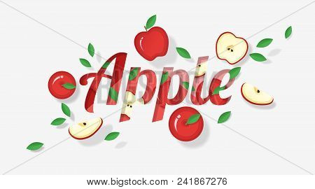 Word Apple Design Decorated With Red Apple Fruits And Leaves In Paper Art Style , Vector , Illustrat