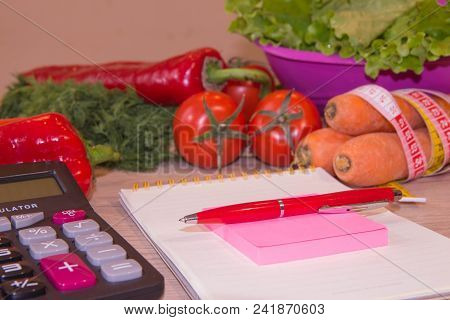 Vegetables, Tomato. Concept Of Weight Loss. Healthy Lifestyle Diet With Fresh Fruits. Diet Concept,