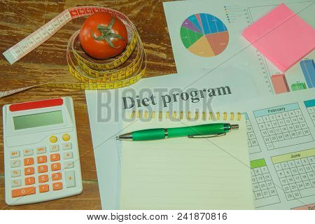 Healthy Natural Organic Food Diet, Ripe Harvest. Tomato Composition, Measuring Tape, Calculator. Die