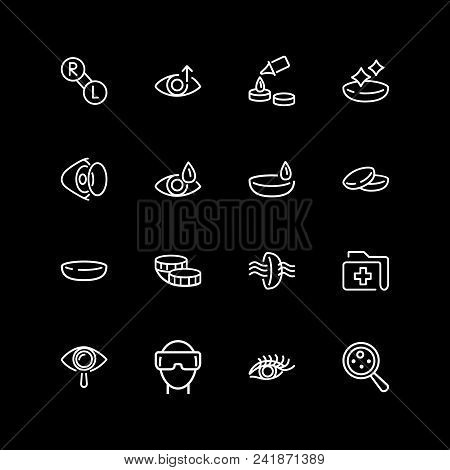 Set Of Eyes Care Line Icons. Contact Lens, Vr Glasses, Medical History. View Content Concept. Vector
