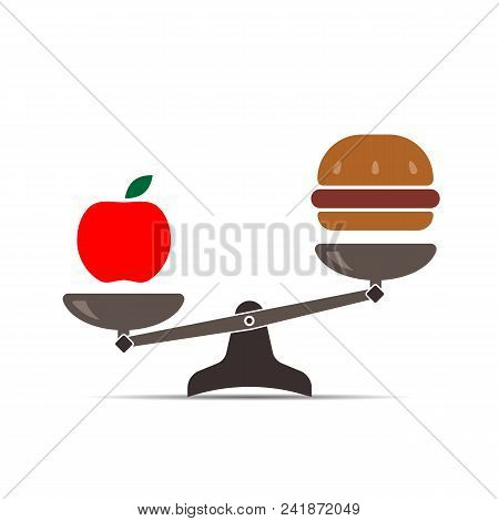 Hamburger And Apple On Scales. Balance Between Fast And Healthy Food. Diet, Nutrition, Fitness And H
