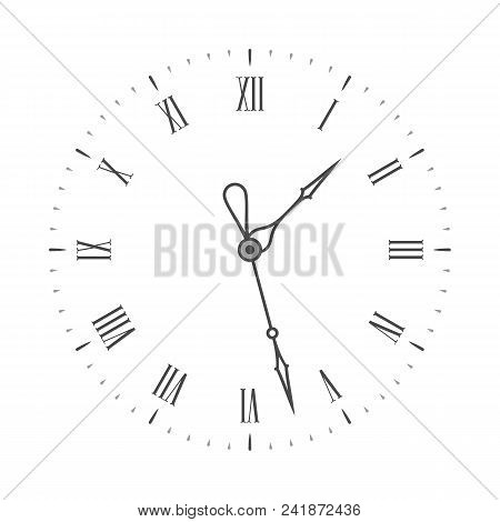 Elegant Clock Face. Black Wall Clock With Roman Numeral. Vintage Clockface Isolated On White Backgro
