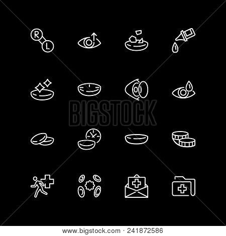 Set Of Optometry Line Icons. Contact Lens, Solution, Medical History, Insurance. Eye Sight Concept.