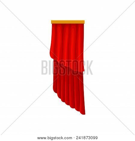 Classic Red Velvet Curtains For Theater Or Opera House Stage. Theatrical Drapery. Decorative Element