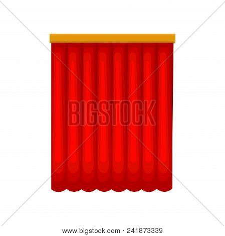 Classical Long Red Stage Curtains From Velvet Or Velour. Theatrical Drapery. Element For Interior De