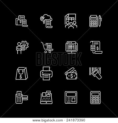 Set of transaction, payment line icons. Receipt, invoice, pos terminal, cash register. Shopping concept. Vector illustration can be used for topics like internet store, finance, purchasing poster