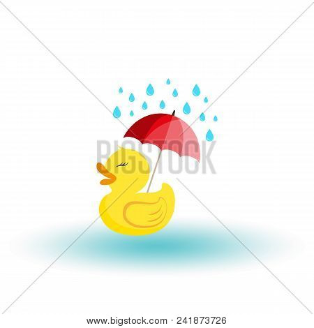 Rubber Ducky With An Umbrella In The Rain. Icon For Web And Mobile Application. Vector Illustration