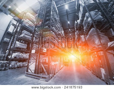 Logistics Concept. Huge Industrial Warehouse, Business Shipping And Cargo Storage For Export, Pallet