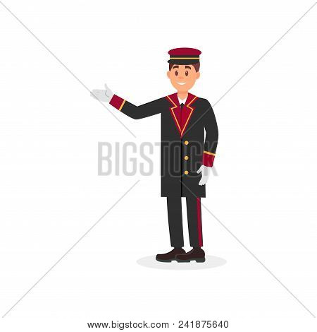 Hotel Doorman In Uniform Coat, Cap And Gloves. Young Man With Smiling Face Expression. Cartoon Guy C