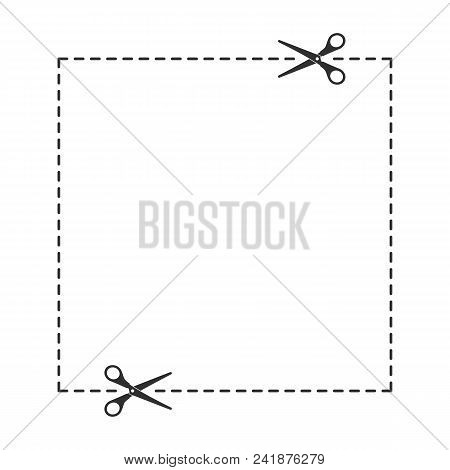 Scissors With Cut Lines Isolated On White Background. Coupon Borders Template. Vector Illustration E