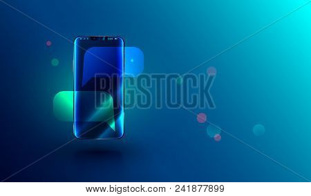 Modern Frameless Smartphone With Empty Chat Bubbles On Screen. Message Or Sms On Mobile Phone. Reali