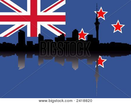Auckland Skyline With Flag
