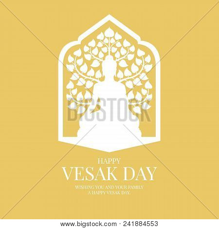 Vesak Day Banner Card With White Buddha And Bodhi Tree Sign In Window Frame On Yellow Background Vec