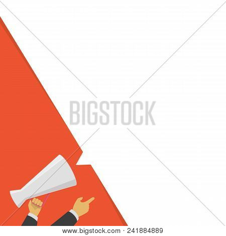 Hand Holding Megaphone With Blank Bubble Speech. Loudspeaker Advertisement Concept. Banner For Busin