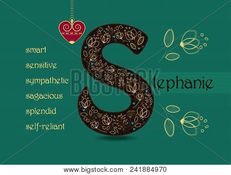 Name Day Card For Stephanie. Brown Letter S With Golden Floral Decor. Vintage Red Heart With Chain.