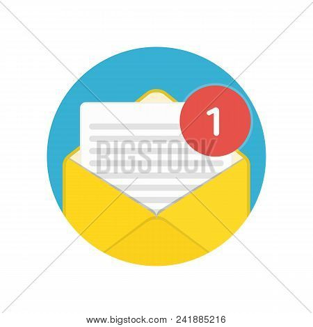 Mail Or E-mail Envelope Icon Isolated On White Background. Email Message Sign In Flat Style. Vector